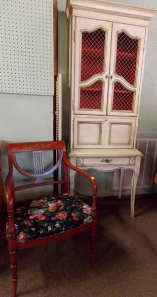 1930-40'S PAINTED ARM CHAIR + WHITE/GOLD FRENCH SECRETARY
