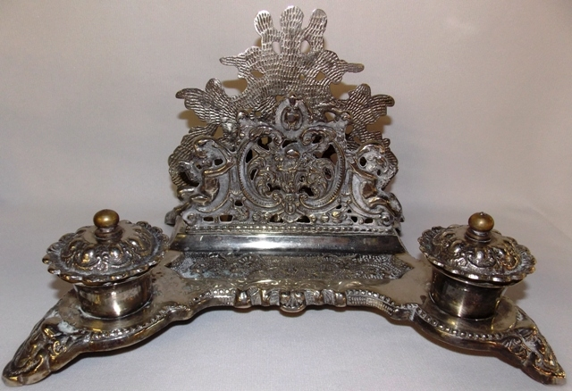 SILVERPLATED ORNATE DOUBLE INK WELL