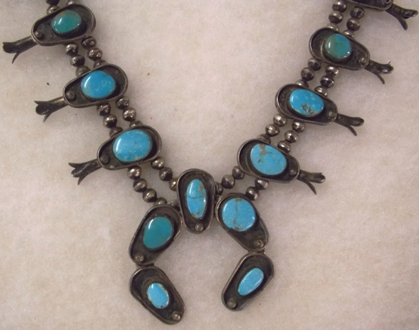 #2-NAVAHO SQUASH BLOSSON NECKLACE, EARLY 1900'S