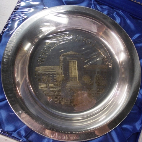 """SOLID STERLING """"UNIVERSITY OF HOUSETON"""" PLATE"""