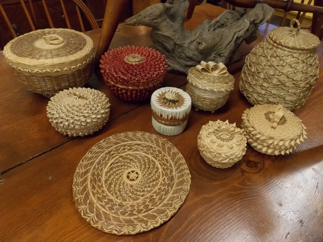 COLLECTION OF HAND MADE BASKETS BY MAINE INDIANS