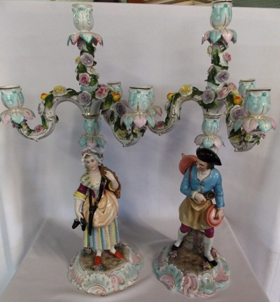 PAIR 2-PART DRESDEN STYLE 3-ARM CANDLEABRUM