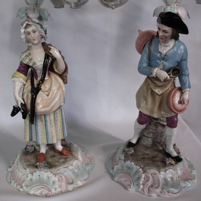 VIEW 2~PAIR 2-PART DRESDEN STYLE 3-ARM CANDLEABRUM