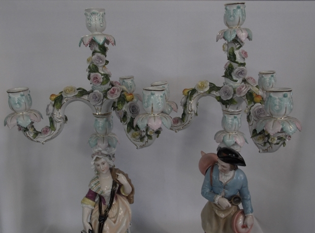 VIEW 3~PAIR 2-PART DRESDEN STYLE 3-ARM CANDLEABRUM