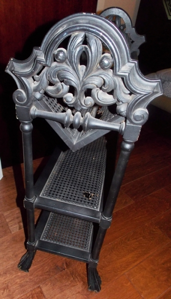 VIEW 2~EARLY 1900's HEAVILY CARVED 3-SHELF BOOKCASE