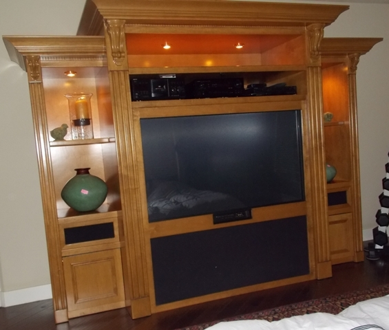 LIGHTED VIEW OF CABINET FOR Mitsubishi 65″ Hi-Def TV