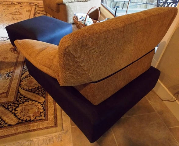 VIEW 4~LINGNE-ROSET-FRANCE 1980'S CHAIR & OTTOMAN
