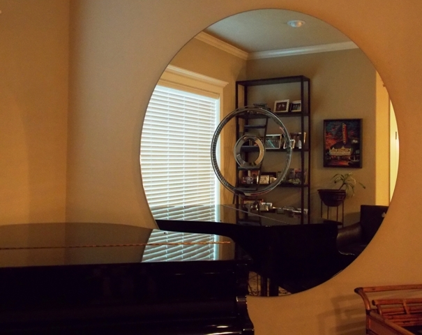 """70"""" ROUND WALL MIRROR WITH 2 CENTER BEVELED MIRRORS"""