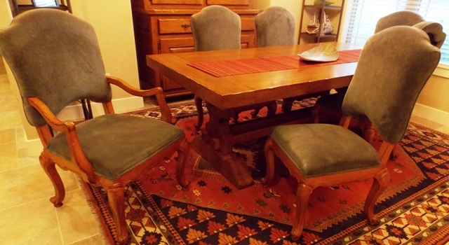 SET 6 DINING CHAIRS, SAGE UPHOLSTERY, CABRIOLE LEGS