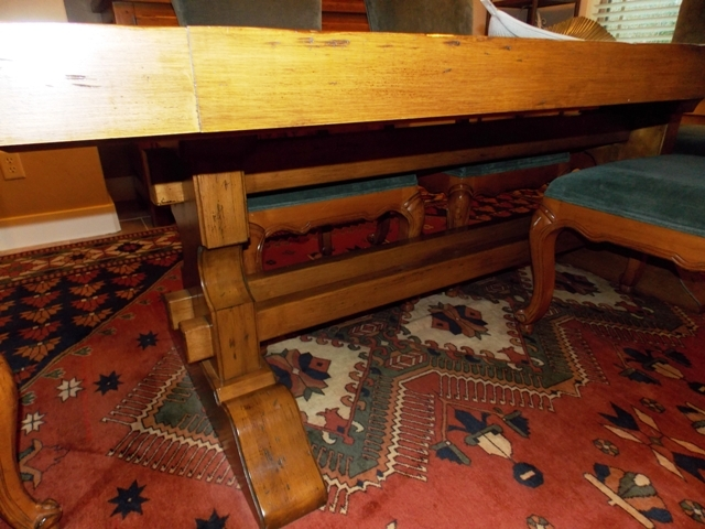 """VINTAGE MAPLE TRESTLE DINING TABLE, 42""""X7' - TWO 18"""" LEAVES"""