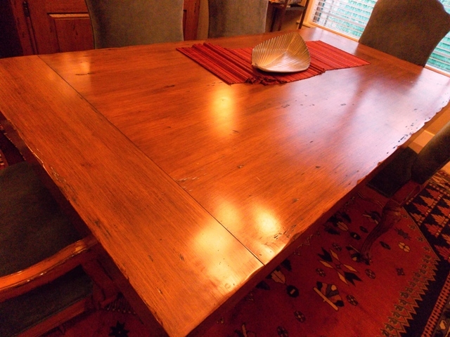 """VIEW 2~VINTAGE MAPLE TRESTLE DINING TABLE, 42""""X7' - TWO 18"""" LEAVES"""