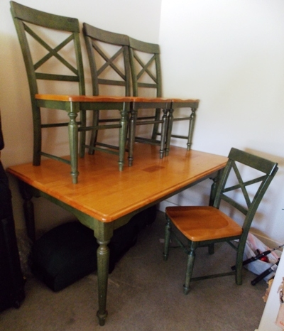 DINING TABLE & 4 CHAIRS, STAINED...