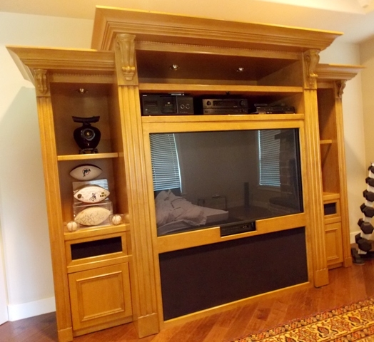 CUSTOM BUILT ENTERTAINMENT CABINET, 5 SECTIONS FOR EASY MOVING