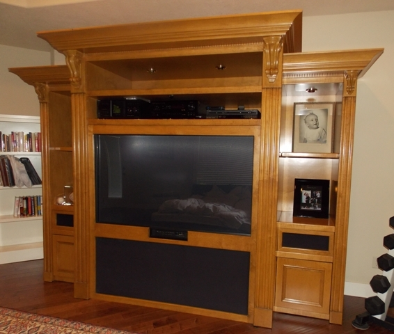 View 3~CUSTOM BUILT ENTERTAINMENT CABINET, 5 SECTIONS FOR EASY MOVING
