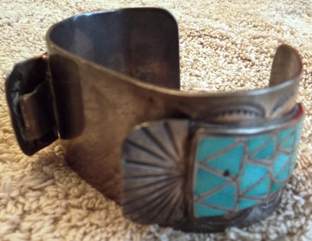 1970'S HAND MADE INDIAN CUFF/WATCH HOLDER BRACLET WITH...