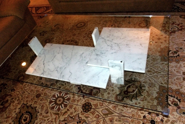 """VIEW 2~SIGNED """"WILLY BALLEZ"""" - BELGUIM TRAVERTINE COFFEE TABLE"""