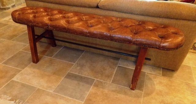 """BROWN LEATHER BUTTON TUFTED 59""""L BENCH"""