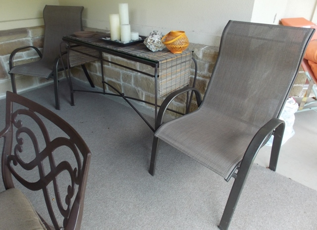 Outdoor Arm Chairs + Sofa style Table