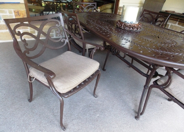 View 2~OVAL METAL PATIO TABLE & 8 ARM CHAIRS