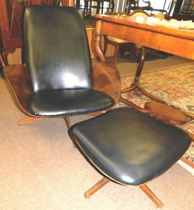 1950's WALNUT UPHOLSTERED SWIVEL ARM CHAIR & OTTOMAN