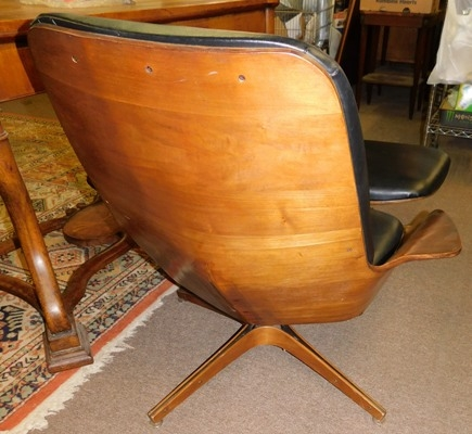 View 2-1950's WALNUT UPHOLSTERED SWIVEL ARM CHAIR & OTTOMAN