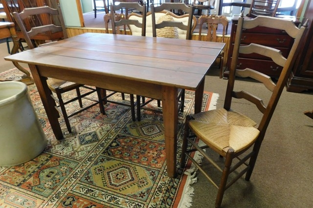 "FARM TABLE (36x57"") + 4 TALL LADDER-BACK CHAIRS"