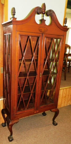 EARLY CLAW-FOOT CHINA/DISPLAY CABINET WITH...