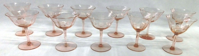 "11~ PINK ETCHED ELEG.DEP.GLASS 5"" STEMS"