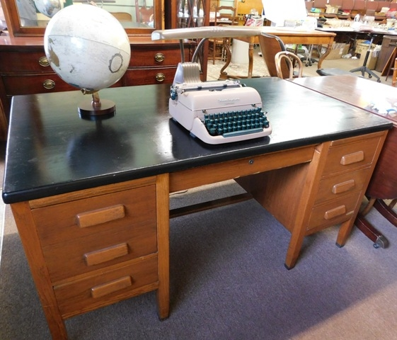 OAK DBL.PEDESTAL DESK+ REMINGTON TY0EWRITER+ETC...