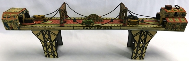 BUSY BRIDGE BY LOUIS MARX TIN LITHO WIND UP TOY