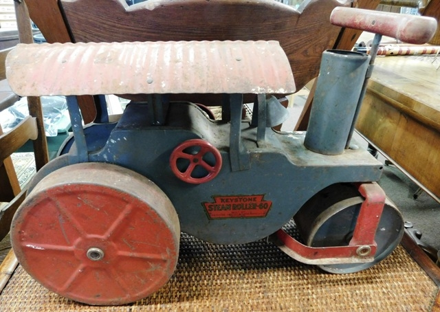 KEYSTONE PRESSED STEEL STEAM ROLLER RIDING TOY