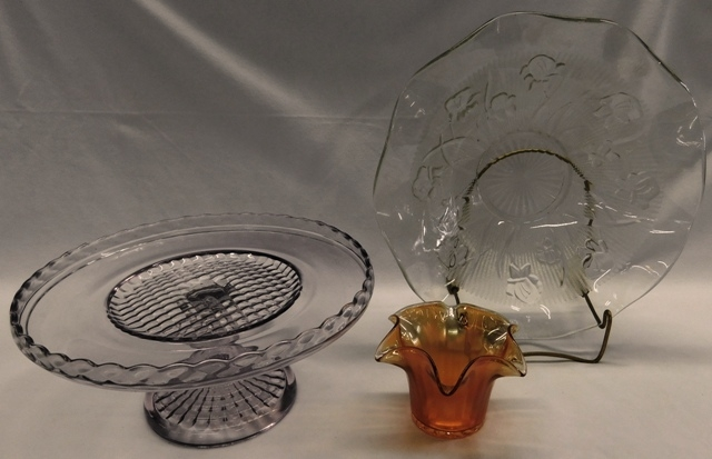 PURPLING FOOTED CAKE PLATE; IRIS DEP. GLASS BOWL; MARIGOLD CARNIVAL GLASS VASE
