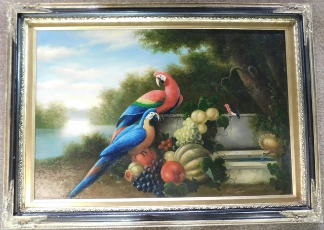 FRAMED OIL ON CANVASE (Parrots & Fruit), unkown Artist