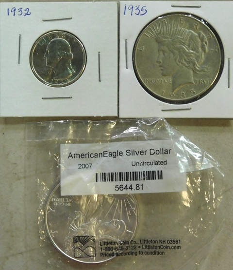 1932-QUARTER; 1935-PEACE SILVER DOLLAR; 2007 AMERICAN EAGLE SILVER DOLLAR (Uncirculated)