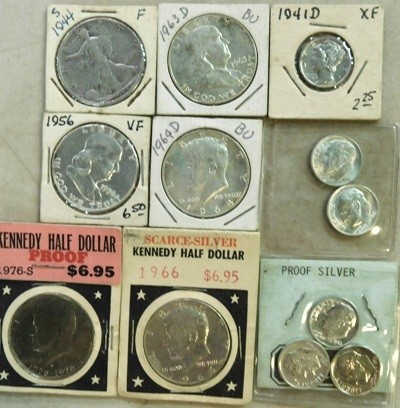GROUP~1944-S, 1956, 1963-D, 1964-D, 1966, 1976 HALF DOLLARD; ...