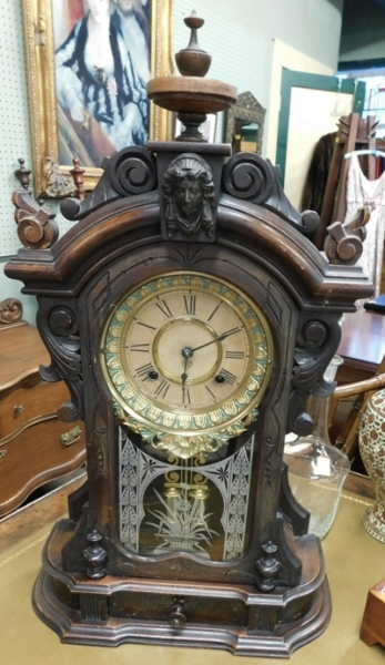 ANSONIA WALNUT MANTEL CLOCK, ORIG FINISH