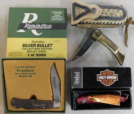 REMINGTON TRACKER SILVER BULLET-COLL.ED. BULLET KNIFE-1 OF 5000; HARLEY DAVIDSON MOTOR CYCLES; LEDGER COLL.