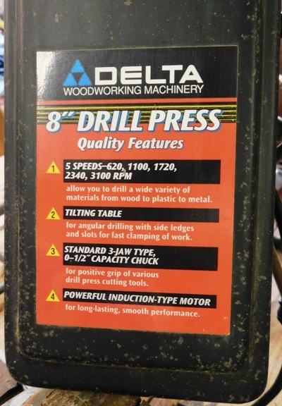 "View 2~DELTA 8"" DRILL PRESS"
