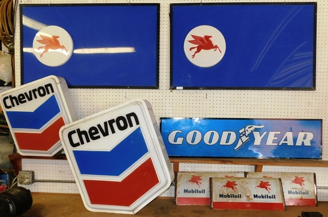 2 MOBIL, 2 CHEVRON SIGNS; MOBIL OIL CAN SHEETS
