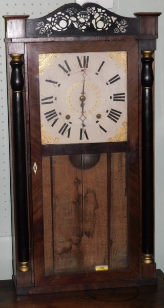 WOOD WORKS CLOCK BY GEO. MARSH, 1832