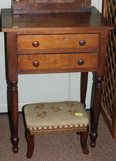 2-DRAWER WALNUT 1880'S TABLE; SMALL FOOTSTOOL