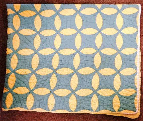 HANDMADE QUILT, AQUA & YELLOW, LEAF DESIGN