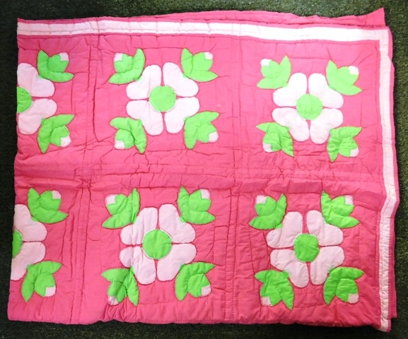 MACHINE APPLIQUE FLOWER DESIGN HAND MADE QUILT