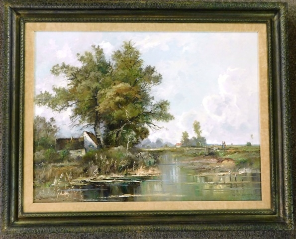 "FR OIL ON CANVAS BY K. RICHTER ""FARM HOUSE"""