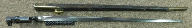 BAYONET SWORD WITH LEATHER COVERED SHEATH