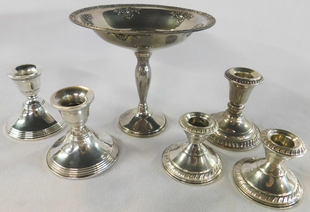 STERLING ROSE BOUQUET COMPOTE + CANDLESTICKS