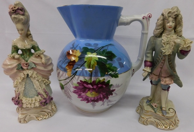 "GORDAY FIGURINES + EARLY 11"" PITCHER"