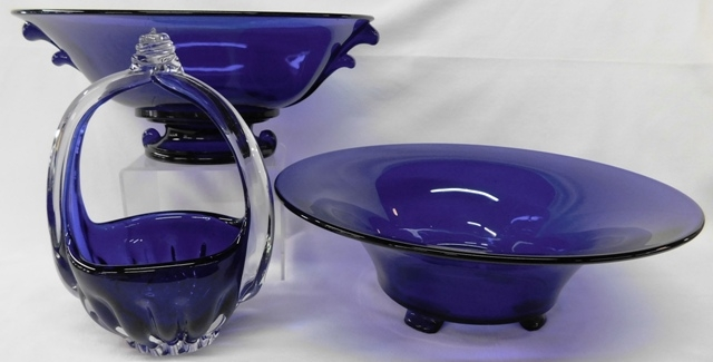 COBALT BOWLS & BASKET W/CLEAR HANDLE