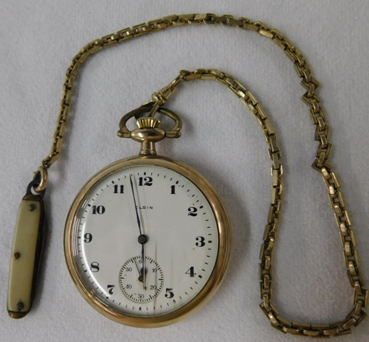 HAMILTON GF OPEN FACE POCKET WATCH & CHAIR