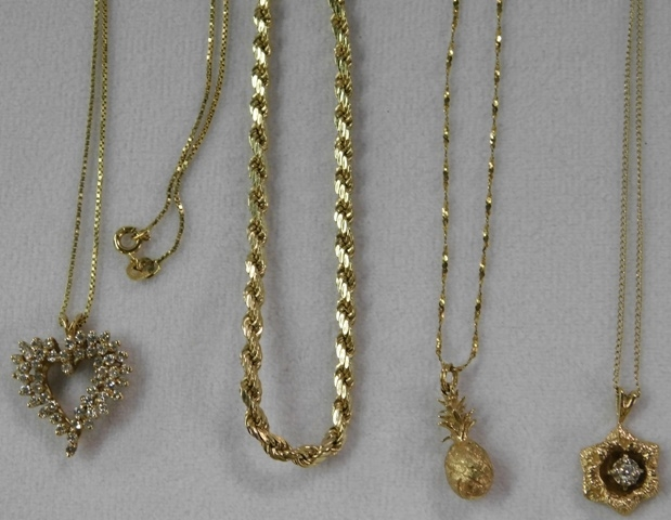 3~ 14K PENDANTS & CHAINS + 1 ROPE CHAIN